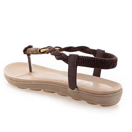 Pantofole Infradito Sandali Amyile Per Donna, Estate Bohemien Sandali Con Perline Dolce Caffè