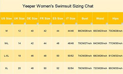 Yeeper Traje de Baño de Una Pieza Para Mujer Bañador deportivo con dibujo multicolor Negro
