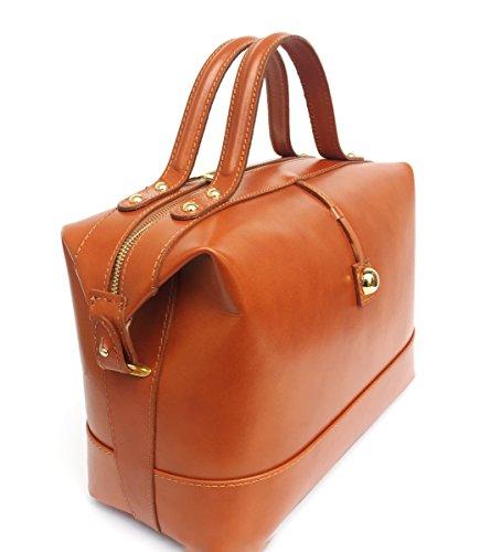 et brillant en cuir cognac main Fabriqué a Superflybags Véritable en Bauletto lisse Modèle Italie Sac Sac Serena wf0qCxUY