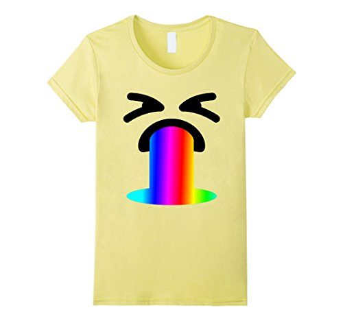 Womens Funny Rainbow Throw Up Vomit Emoji Face Gift Shirt for Party Small Lemon (Best Halloween Costumes For College Guys)