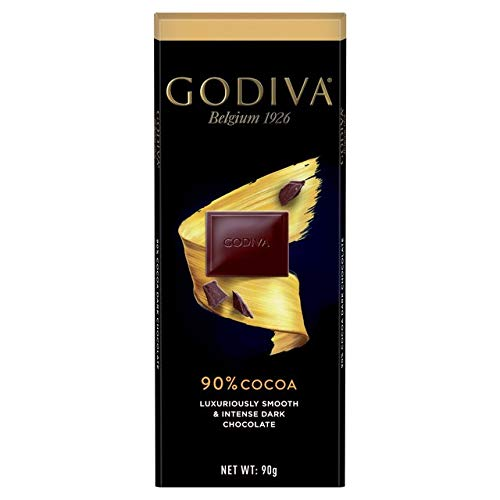 Godiva 90% Cocoa Luxuriously Smooth & Intense Dark Chocolate 90g (Pack of 6)