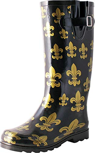 TWO Nomad Women's Drench Colorful Pattern Print Waterproof Rain Boots (9 B(M) US, Black/Gold Fleur de Lis)