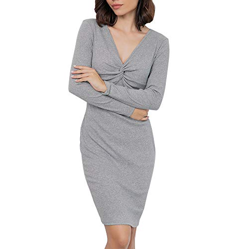 BODOAO Women Long Sleeve Sexy Bodycon Dress Long Sleeve wrap V Neck Paty Dress