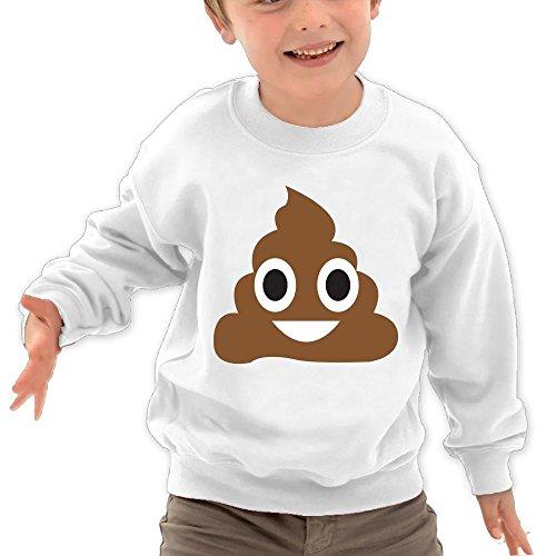 Puppylol Poop Emoji Kids Classic Crew-Neck Pullover Hoodie White 2 Toddler
