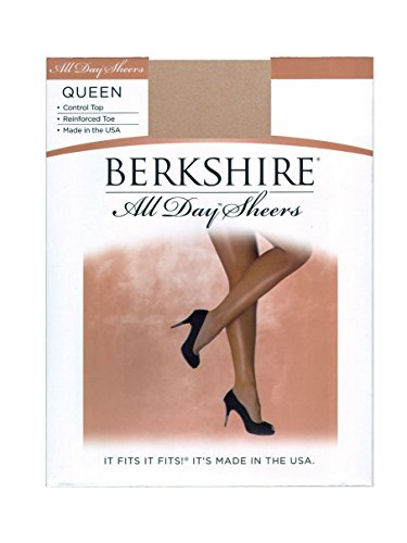Berkshire Women's Plus-Size Queen All Day Sheer Control Top Pantyhose - Reinforced Toe 4414, Nude, Queen (Day Sheer Pantyhose Hosiery)