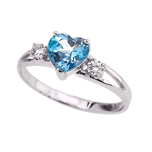 (Precious 10k White Gold December Birthstone Heart Proposal/Promise Ring with White Topaz (Size 4.5))