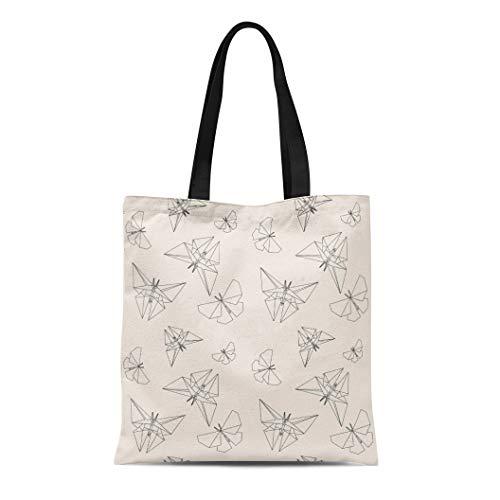 The Japanese Tradition Origami - Semtomn Canvas Tote Bag Shoulder Bags Pattern Geometric Thin Line Butterfly Origami Japanese Tradition Modern Women's Handle Shoulder Tote Shopper Handbag
