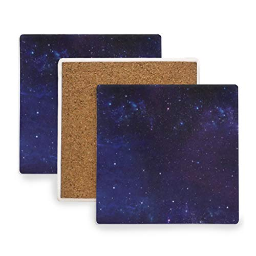 Galaxy Stars Coasters, Protect Your Furniture from Stains,Coffee, Cork Coasters Funny Housewarming Gift,Square Cup Mat Pad for Home, Kitchen or Bar 1 Piece