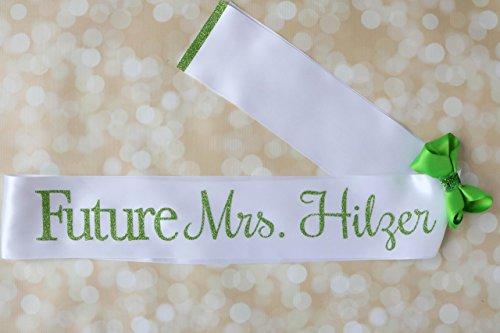 Personalized Future Mrs. Bridal Bachelorette Sash in Glitter Light Green and White Satin Sash