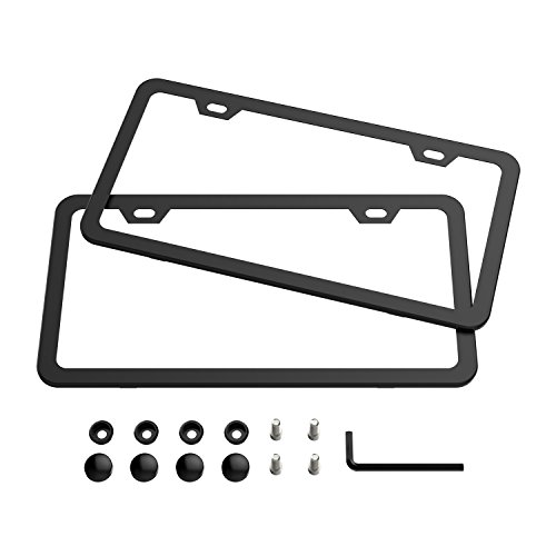 Carbon License Plate Frame (Black License Plate Frames, Karoad Stainless Steel Car Licence Plate Covers Slim Design 2 PCS with Bolts Washer Caps for US)