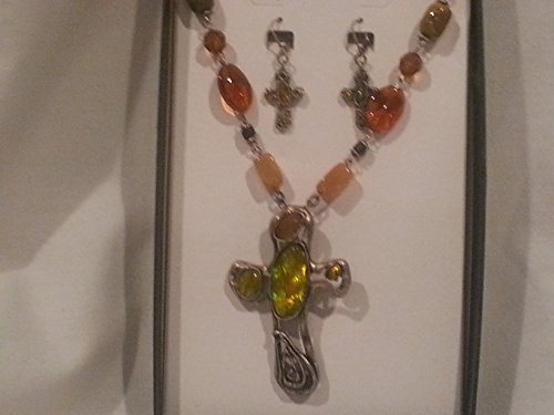Funky Cross Necklace and Earring Set Silver and Green Stone Cross Necklace Earring ()