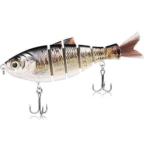 TRUSCEND Large Fishing Pike Sea Fishing Lure67g 17cm 6-Segment Jointed Baits Bionic 3D Eyes Crankbaits Wobbler Swimbaits Hard Lure (J6D01-D)