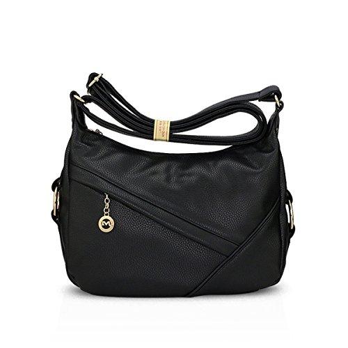 Travel PU Crossbody Shoulder amp;DORIS Black Satchel Tote Purse NICOLE Bag Hobo Women Black Leather Handbags Bag 7vgnq4awx