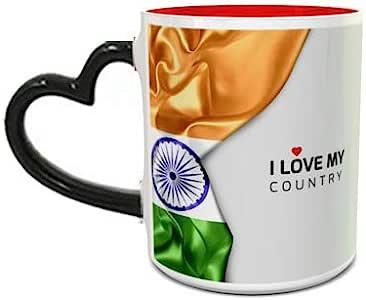 Heat Sensitive Heart Handle Red Ceramic Mug with India Flag Design