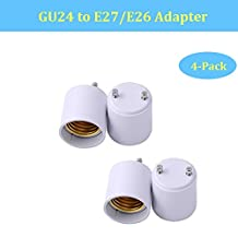 BrothersLED GU24 to E26 E27 Adapter Light Bulb Socket Adaptor Lamp Base Converter- Converts your Pin Base Fixture (GU24) to Standard Screw-in Bulb/Lamp Socket, Safe PBT Flame Retardant Material (4-Pack)