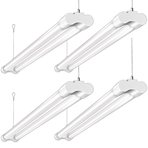 Hykolity 4FT 36W LED Shop Light with cord, 3600lm Hanging or FlushMount Garage Utility Light, 5000K Overhead Workbench Light, Light Weight, Shatter Proof 64w Fluorescent Fixture Replacement- 4 Pack by hykolity
