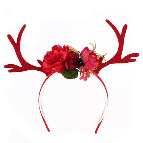 Cute Deer Antler Headband Flowers Blossom Diy Fawn Horn Hair Hoop Hair Accessories Photography Props 4 Colors Head Hoop,red ()