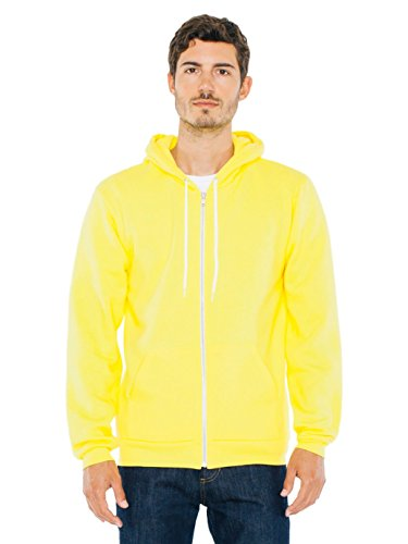 American Apparel  Unisex Flex Fleece Zip Hoodie, Sunshine, X-Small -