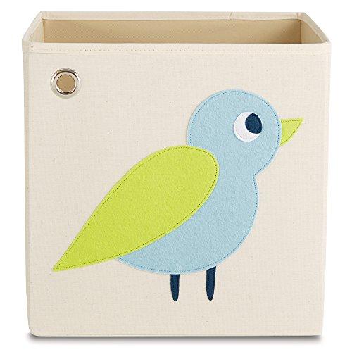 kaikai & ash Toy Storage Bin, Box Cube Basket Organizer for Baby Kids and Sprouts, 13 inch Canvas, Woodland Bird Animal