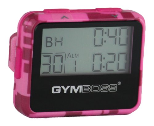 Gymboss Interval Timer and Stopwatch - Pink Camouflage/Pink Gloss (Run Walk Interval Timer)