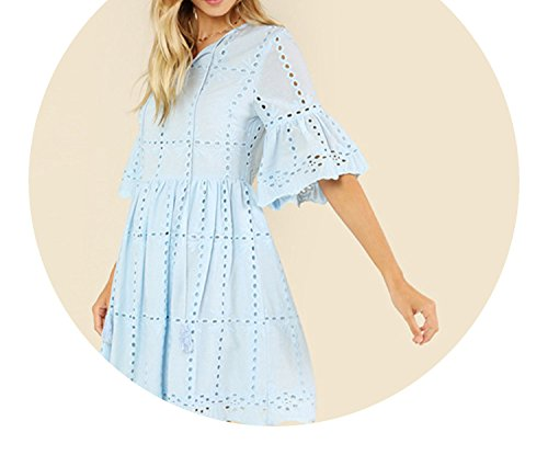 (Trendy-Nicer Casual Tassel Tie Neck V Neck Half Flounce Sleeve High Waist Eyelet Embroidered Smock,Sky Blue,M)