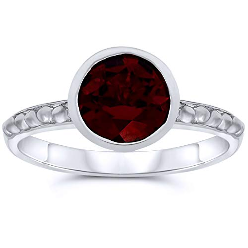 .925 Sterling Silver 7mm Round Shape Bezel Set Garnet Solitaire Ring, Birthstone of January