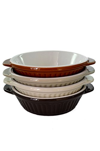 Set 4 Large Oven-Safe Assorted Color Porcelain Appetizer Au Gratin Baker Dishes by American Chateau (Image #2)
