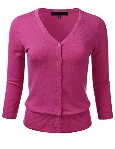 (FLORIA Women's Button Down 3/4 Sleeve V-Neck Stretch Knit Cardigan Sweater Magenta)