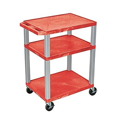 Image of AV Carts & Stands Offex Tuffy AV Cart, 3 Shelves, Nickel Legs (OF-WT34RE-N)