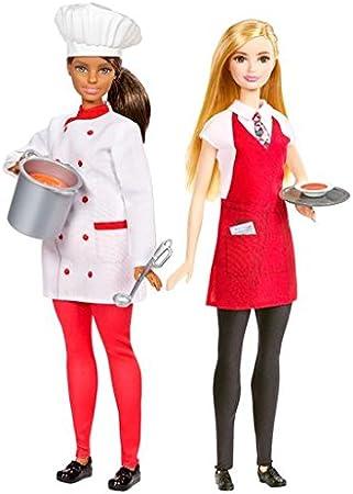 Amazon.es: Barbie Pack 2 muñecas Chef y Camarera (Mattel FCP66): Juguetes y juegos