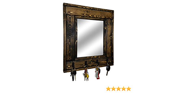 Millwood Mirror with Hooks Decorative Mirror Hat Hooks Hanging Hooks Coat Hooks Rustic Decor Key Hooks Customize With Up To 5 Single Hooks Shown In Special Walnut