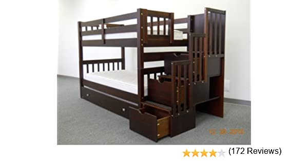 Best of Amazon Bedz King Twin Over Twin Stairway Bunk Bed with Twin Trundle Cappuccino Kitchen & Dining Beautiful - Model Of Wooden Bunk Beds with Stairs In 2018