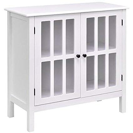 Amazon Tangkula Console Cabinet Storage White Glass Door