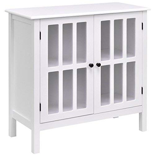Glass Modern Cabinet (Tangkula Console Cabinet Storage White Glass Door Sideboard Console Table Server Display Buffet Cabinet (White))