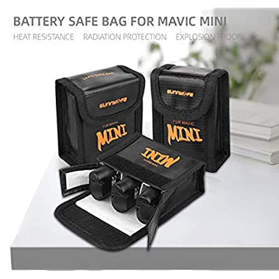 Tineer Nylon Lipo Battery Safe Bag for DJI Mavic Mini Accessory - Battery Protection Storage Bag Explosion Proof Pouch (3PCS Small): Electronics