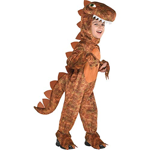 T-Rex Jumpsuit Halloween Costume for Kids, Small, with Attached Hood, by Amscan ()