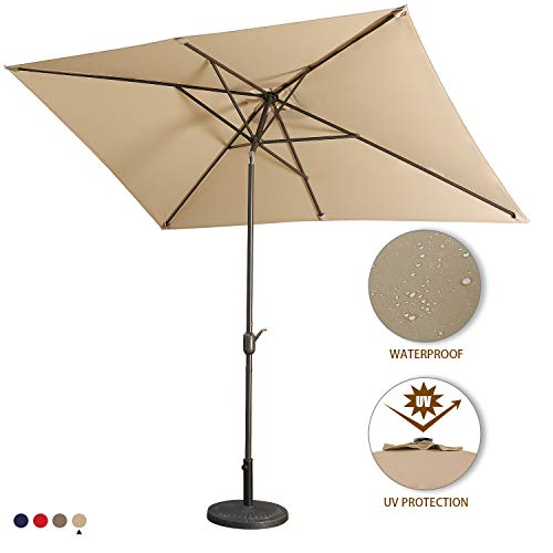 Aok Garden 10Ft Patio Outdoor Umbrella Market Table Fade-Resistant Umbrella with Push Button Tilt and Crank for Garden Backyard Deck,Update Sand
