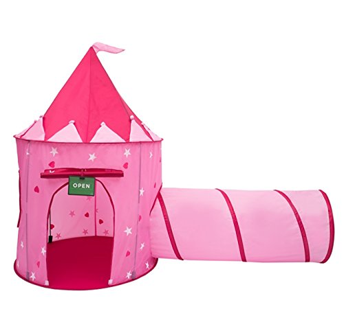 Play Kreative Glow In The Dark Pink Princess Castle Tent with Crawling Tunnel and Carry Case. Foldable pop up pink Castle Playhouse with Red Hearts for indoor/outdoor Children fun activities.