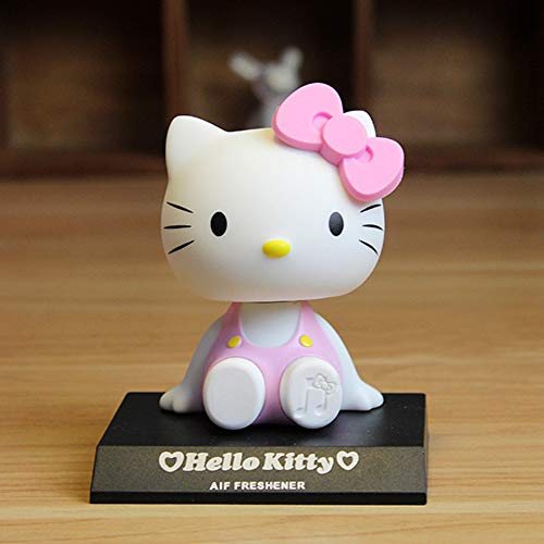 Cartoon Hello Kitty Bobble Head Car Decoration Accessories, Cute Car Accessories Hello Kitty Cat Car Dashboard Bobbleheads Silicone Cartoon Cat Bobble Head Doll Anime Cartoon Cake Decorations (Pink)