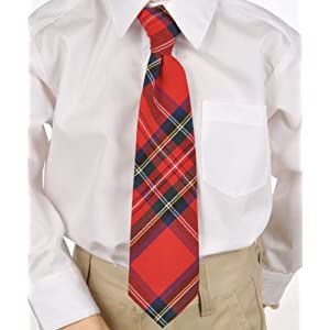 Cookie's Brand Adjustable Banded Necktie with Clip - red/green/white/gold