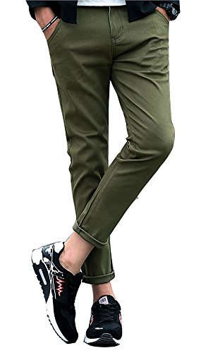 Plaid&Plain Men's Stretchy Slim-Tapered Flat-Front Cotton Casual Pants Nine Pants Army green 36
