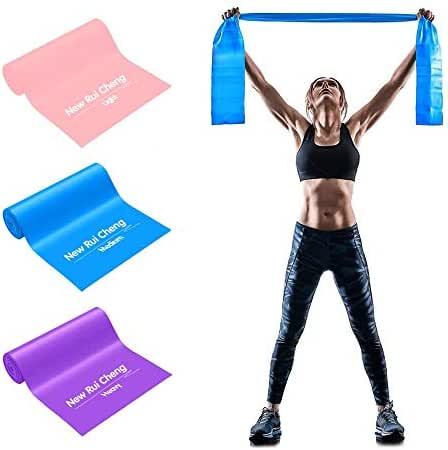 NEW RUICHENG Resistance Band 3Pack Set 1.5M 1.8M 2M Fitness Band 3 Strength Resistance Levels Pilates Yoga Stretch Exercise Band Rehabilitation Physiotherapy Training Band Muscle Building Men&Women