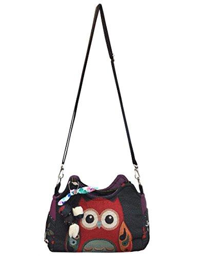 Magnifica borsetta importata da Tailandia, multicolore, motivi Gufi (42238)