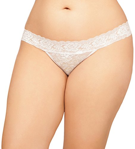 Seven Til Midnight Women's Plus-Size Chloe Lace Thong with Keyhole Back Detail, White, 1X/2X -