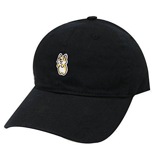 - City Hunter C104 Cute Welsi Corgi Cotton Baseball Dad Caps 26 Colors (Black)