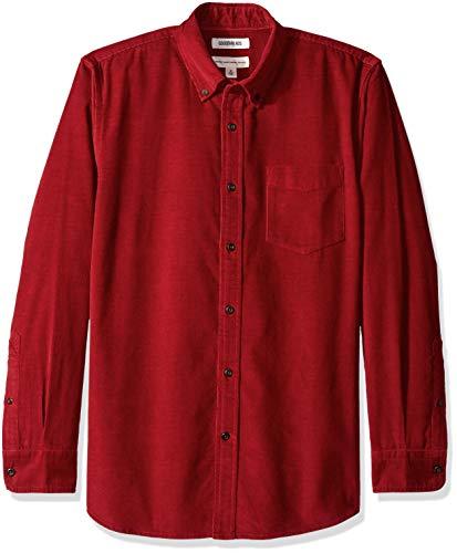Goodthreads Men's Standard-Fit Long-Sleeve Corduroy Shirt, -red, - Red Fine Corduroy
