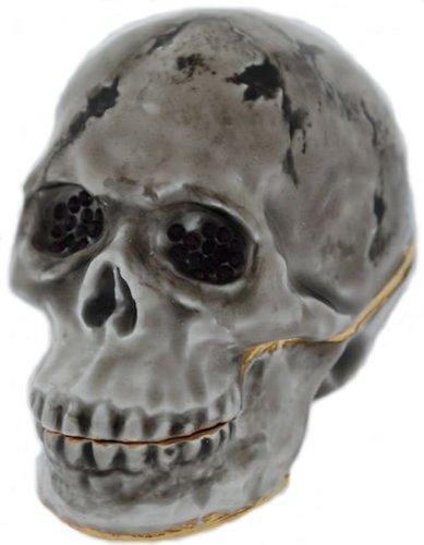 Halloween Skull Black Eyes Bejeweled Enamel Trinket Box with Crystals ()