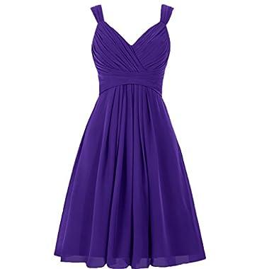 EllaGowns Women's V Neck Chiffon Bridesmaid Dress Short Prom Gown Regency US 12