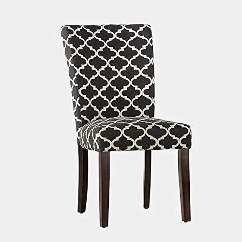 Wood Dining Chair with Soft Fabric - Upholstered Dining Chair with Espresso Legs - Set of 2 - Vulcan Black