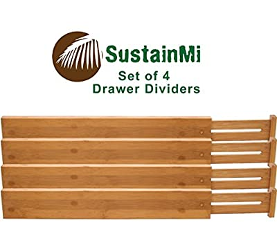 SustainMi Set of 4, Expandable and Adjustable Bamboo Kitchen Drawer Divider Organizer